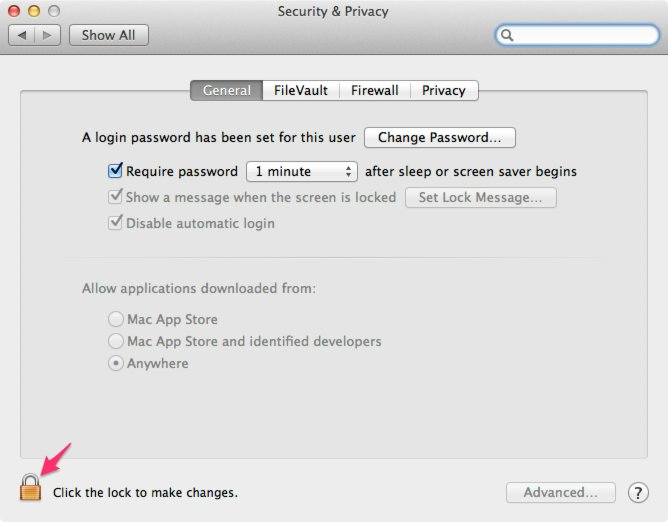 Step 1. Click the padlock to make changes.